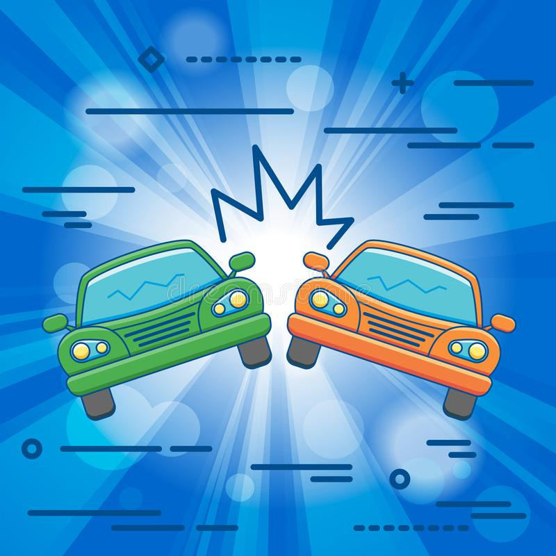 Flat Line design graphic image concept of car crash vector illus stock illustration