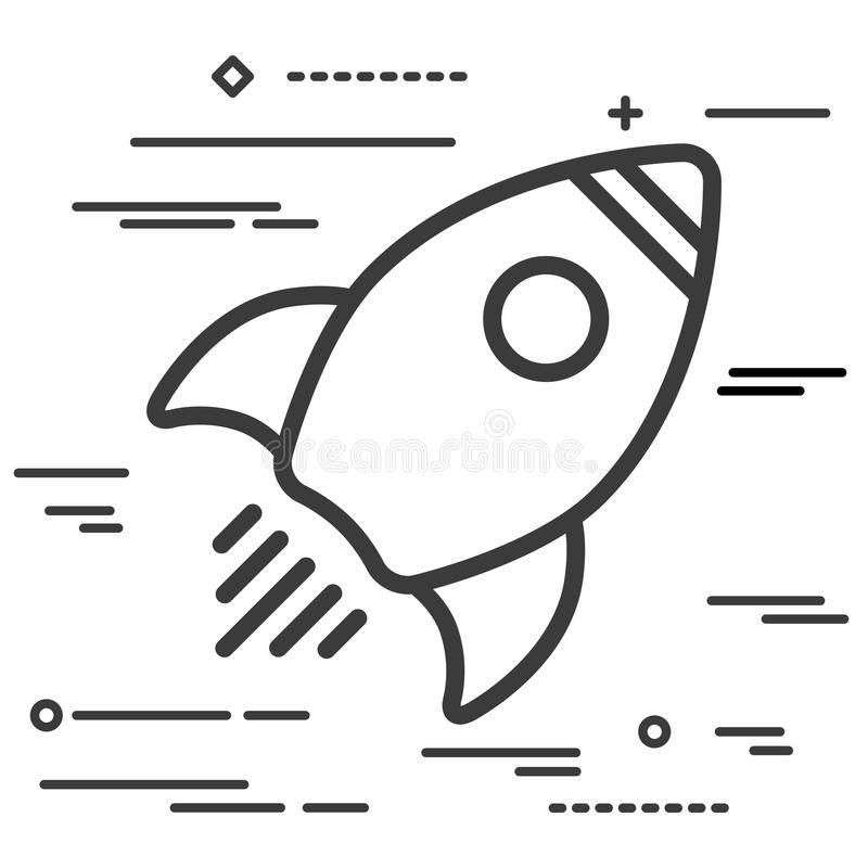 Flat Line design graphic image concept of Linear rocket icon on stock illustration