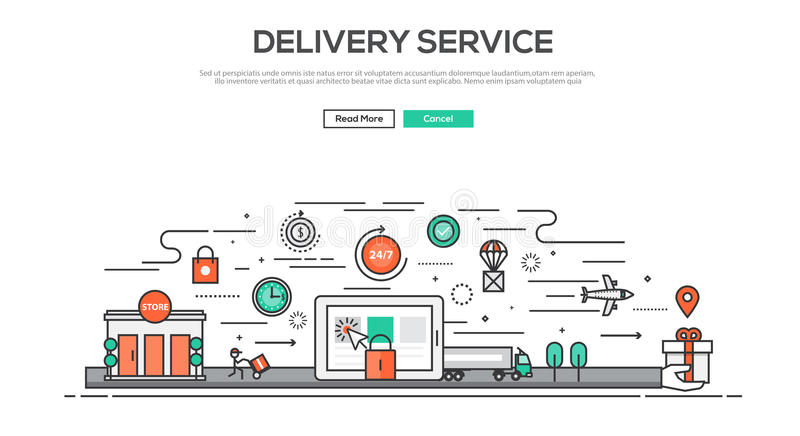 Flat Line design graphic image concept. Website elements layout of Delivery service. Icons Collection of Creative Work Flow Items and Elements. Vector vector illustration
