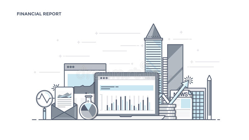 Flat Line Design Header - Financial Report. Modern Flat Line Color hero image of Financial Report for website and mobile website, easy to use and highly vector illustration