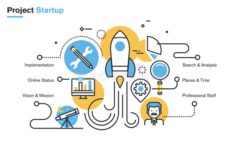 Flat line design illustration of project startup process royalty free illustration