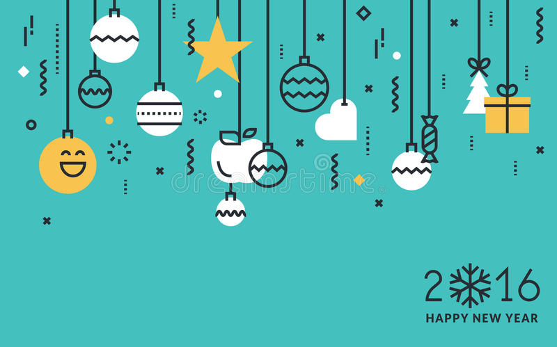 Flat line design New Year's concept. Flat line design New Year's vector illustration for greeting card, banner, marketing material, background, wrapping paper royalty free illustration