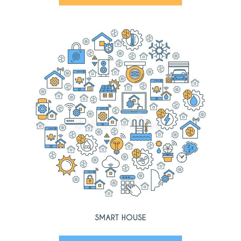 Flat line design smart home concept vector illustration