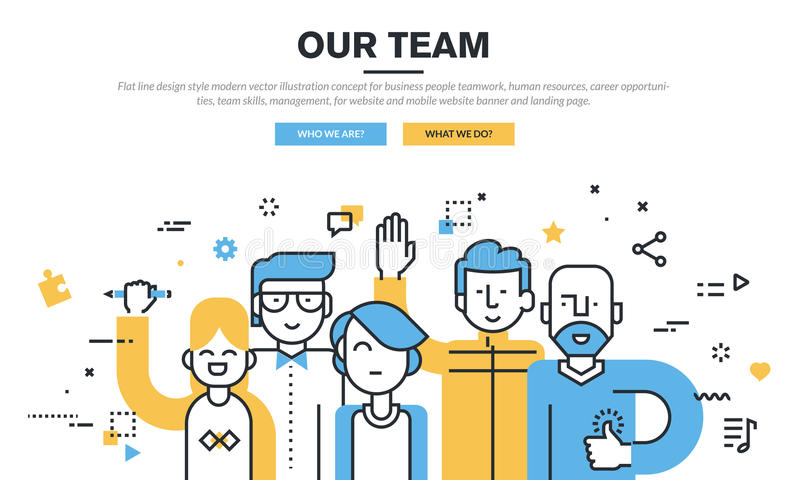 Flat line design style modern vector illustration concept for business people teamwork. Human resources, career opportunities, team skills, management, for vector illustration