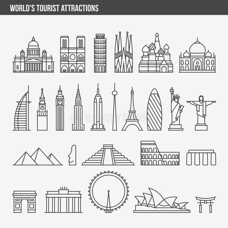 Flat line design style vector illustration icons set. And logos of top tourist attractions, historical buildings, towers, monuments, statues, sculptures and stock illustration