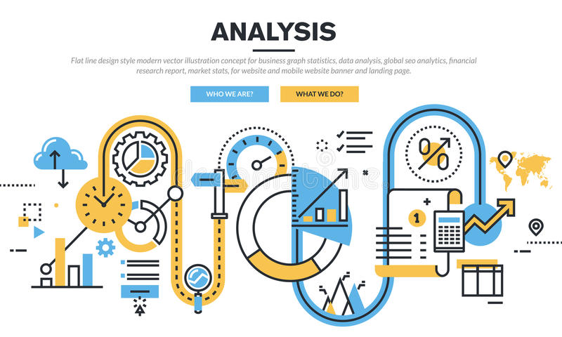 Flat Line Design Vector Illustration Concept For Data Analysis Stock ...