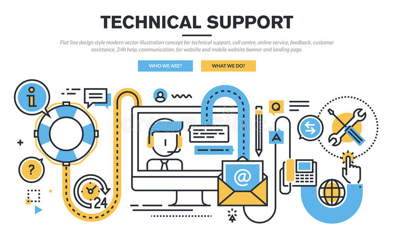 Flat line design vector illustration concept for technical support. Call centre, online service, feedback, customer assistance, 24h help, communication, for royalty free illustration
