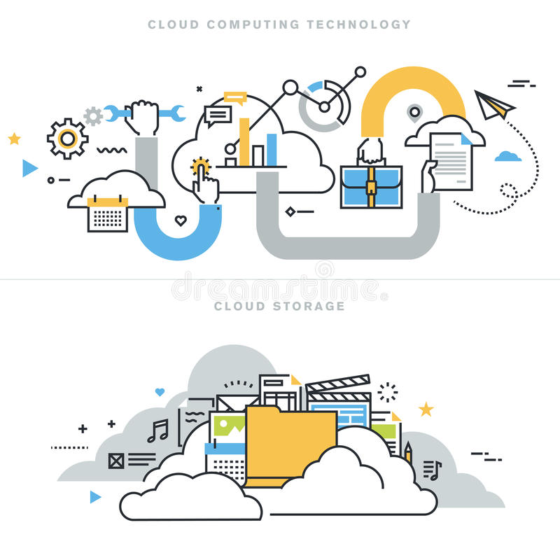 Flat line design vector illustration concepts for cloud computing. Technology, cloud storage, cloud solutions, security and availability, for website banner and