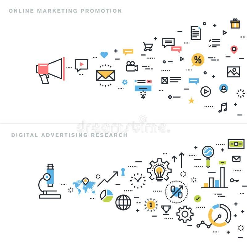 Flat line design vector illustration concepts for marketing. Flat line design vector illustration concepts for online marketing promotion, digital advertising royalty free illustration