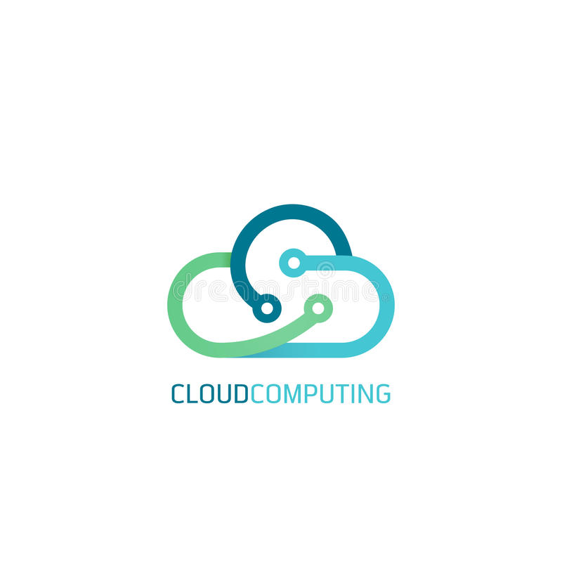 Flat line design web banners for cloud computing services and technology stock photography