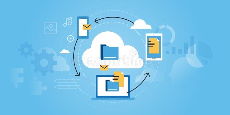 Flat line design website banner of business cloud computing. Modern vector illustration for web design, marketing and print material stock illustration