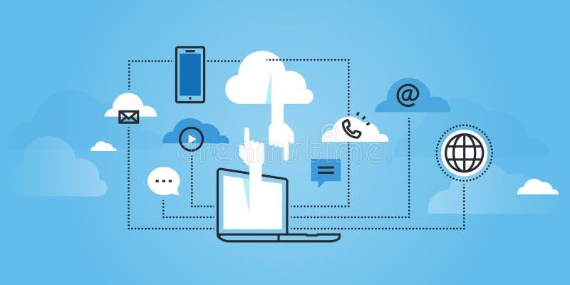 Flat line design website banner of cloud computing services. Modern vector illustration for web design, marketing and print material stock illustration