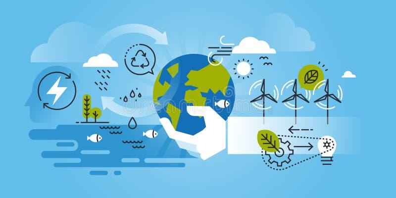 Flat line design website banner of environment. Renewable energy, green technology, recycling, nature, biosphere conservation. Modern vector illustration for vector illustration