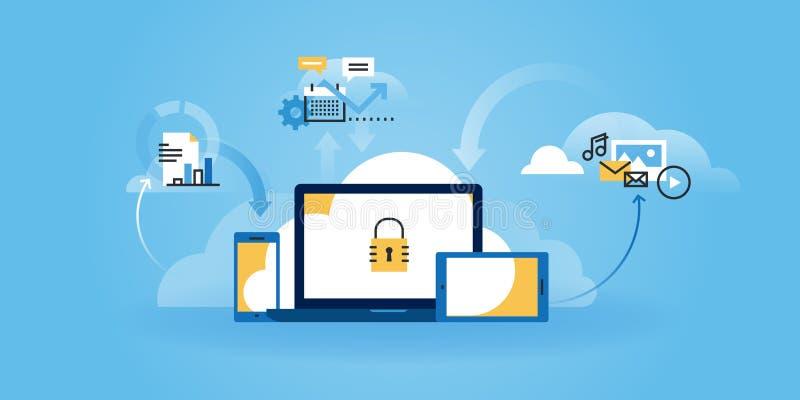 Flat line design website banner of internet security. Information security, data protection, cloud computing. Modern vector illustration for web design stock illustration