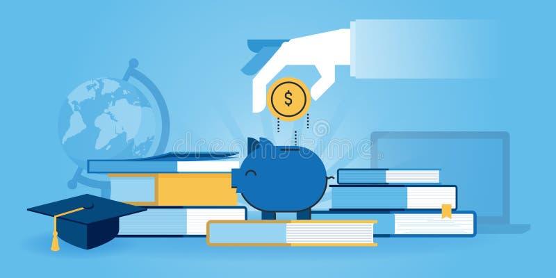 Flat line design website banner of investment in knowledge stock illustration