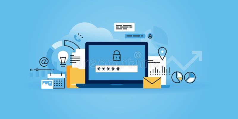 Flat line design website banner of online security. Data protection, antivirus software, cloud computing. Modern vector illustration for web design, marketing royalty free illustration