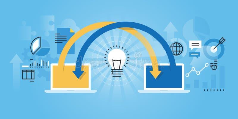Flat line design website banner of online share ideas. Online brainstorming, cooperation, teamwork. Modern vector illustration for web design, marketing and royalty free illustration