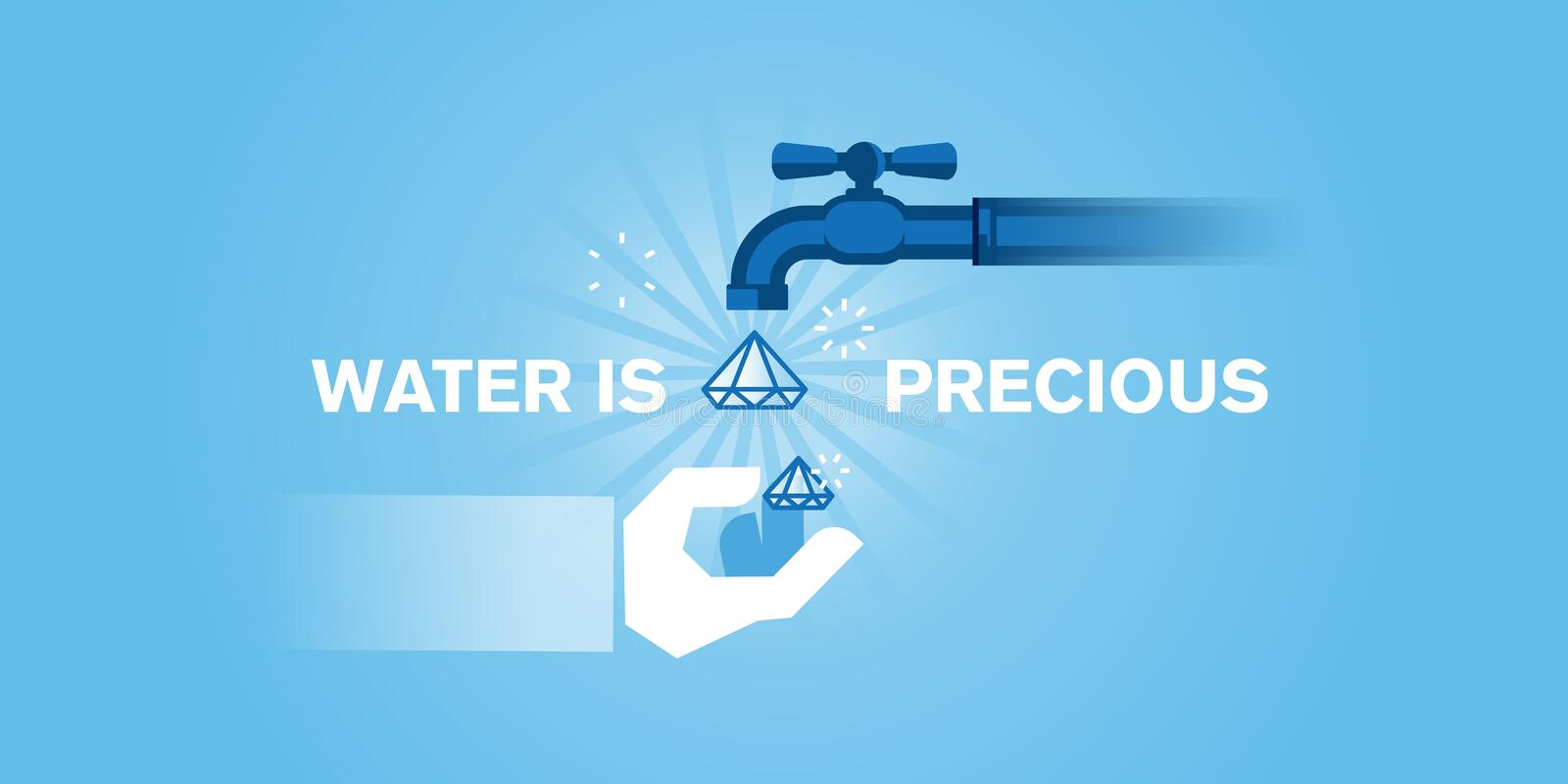 Flat line design website banner of water, water resources. Water conservation, water treatment, a source of health and life. Modern vector illustration for web vector illustration