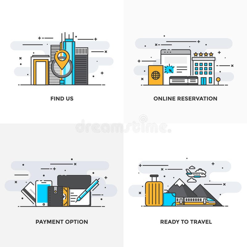 Flat line Designed Concepts 10-Colored. Modern flat color line designed concepts icons for Find us, Online Reservation, Payment Option and Ready to Travel. Can vector illustration