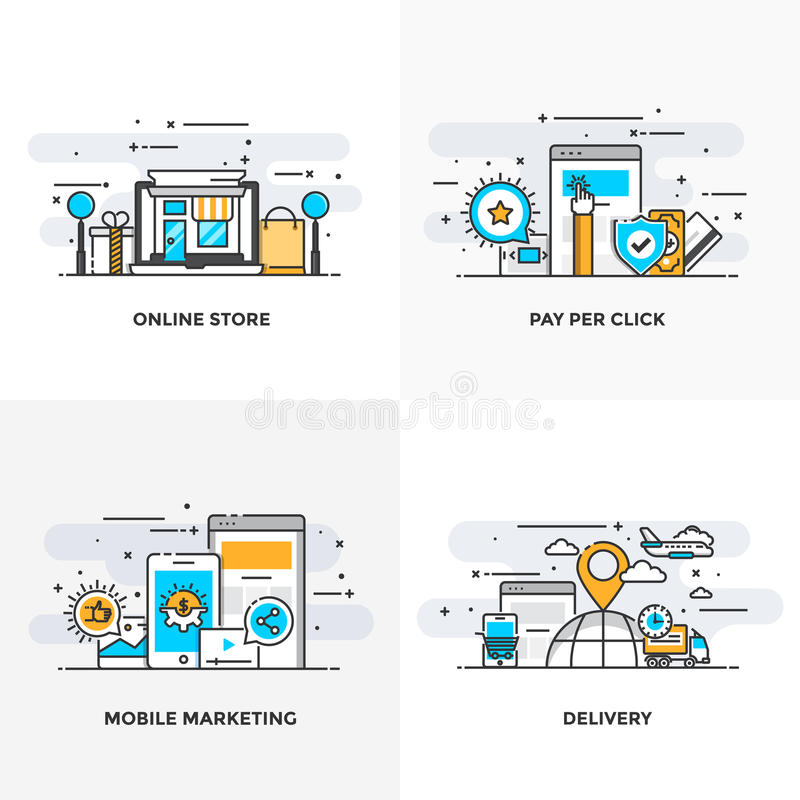 Flat line Designed Concepts 8-Colored. Modern flat color line designed concepts icons for Online Store, Pay Per Click, Mobile Marketing and Delivery. Can be used royalty free illustration
