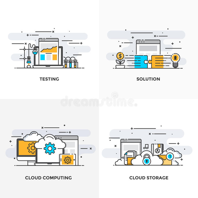 Flat line Designed Concepts 9-Colored. Modern flat color line designed concepts icons for Testing, Solution, Cloud Computing and Cloud Storage. Can be used for royalty free illustration