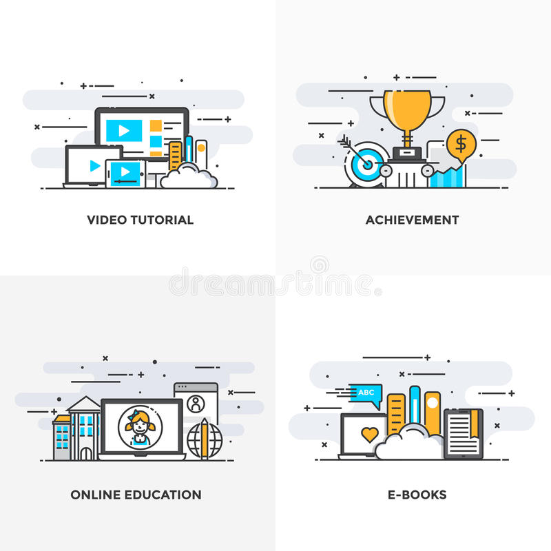 Flat line Designed Concepts 6-Colored. Modern flat color line designed concepts icons for Video Tutorial, Achievement, Online Education and E Books. Can be used royalty free illustration