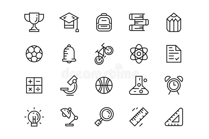 Set of Education icons. Flat line doodle with school theme vector illustration
