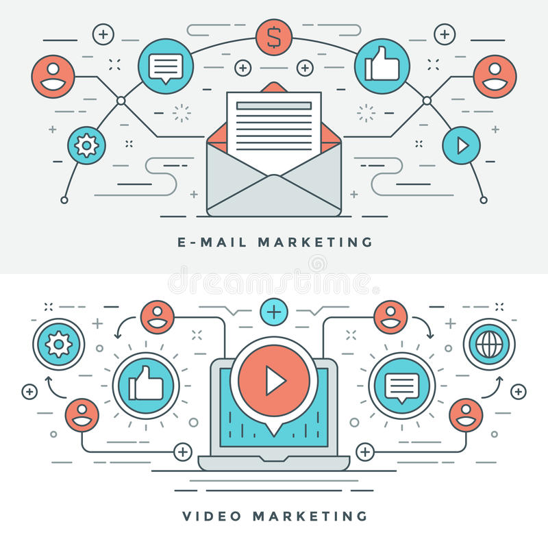 Flat line E-mail and Video Marketing Concept Vector illustration. Modern thin linear stroke vector icons. stock illustration