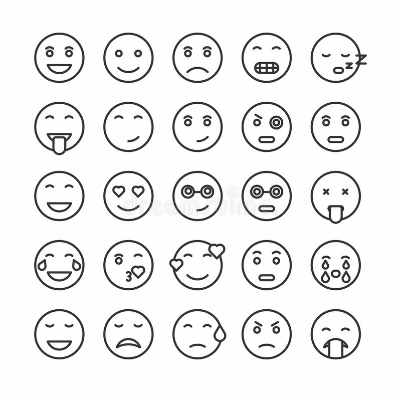 Flat and line emoticon face icons set. Vector smiley stock illustration
