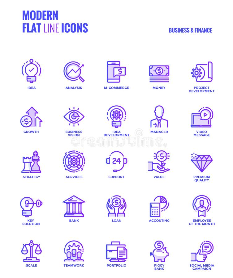 Flat line gradient icons design-Business and Finance royalty free illustration