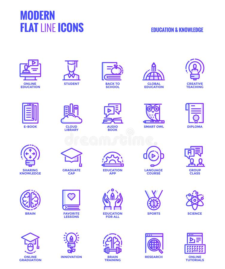 Flat line gradient icons design-Education and Knowledge. Set of Modern Gradient flat line Education and Knowledge icons suitable for mobile concepts, web royalty free illustration