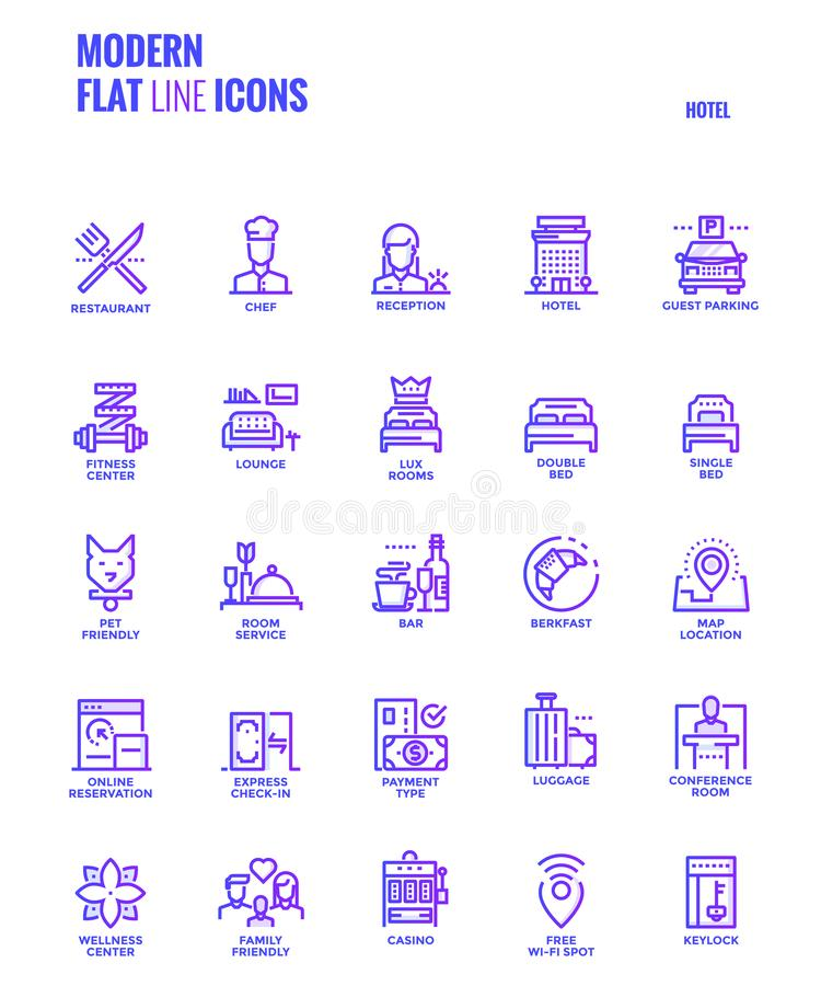 Flat line gradient icons design-Hotel. Set of Modern Gradient flat line Hotel services icons suitable for mobile concepts, web application, printed media and stock illustration