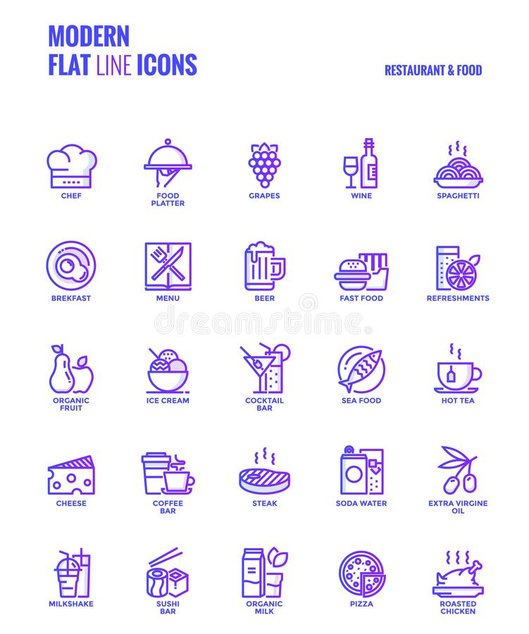 Flat line gradient icons design-Restaurant and food. Set of Modern Gradient flat line Restaurant and Food icons suitable for mobile concepts, web application vector illustration