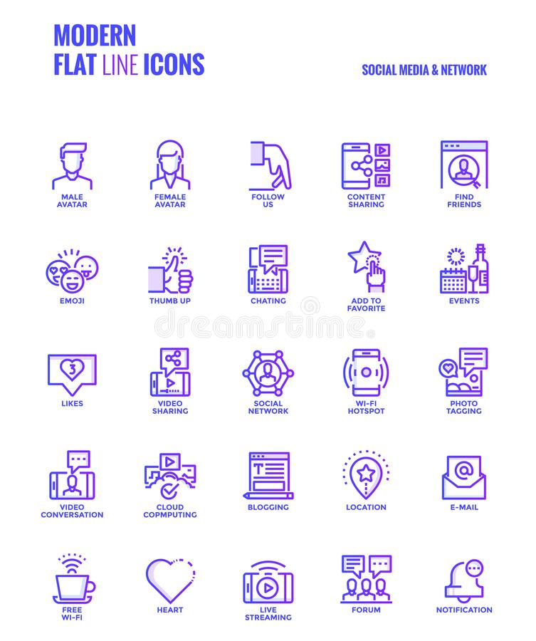 Flat line gradient icons design-Social media & Network. Set of Modern Gradient flat line Social media & Network icons suitable for mobile concepts, web stock illustration