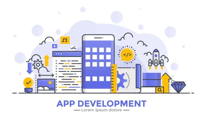 Flat Line gradient Modern Concept Illustration - App development royalty free illustration