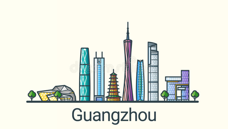 Flat line Guangzhou banner. Banner of Guangzhou city in flat line trendy style. All buildings separated and customizable. Line art vector illustration