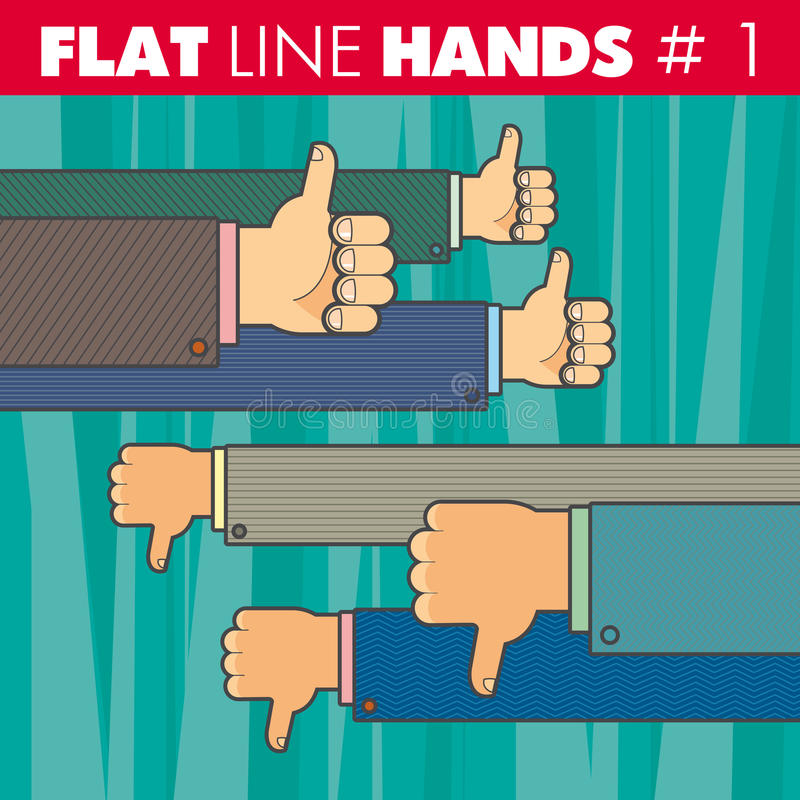 Flat line hands 1. Vector hand style flat line design. Thumbs up, thumbs down, finger, like, not like. For web, print stock illustration