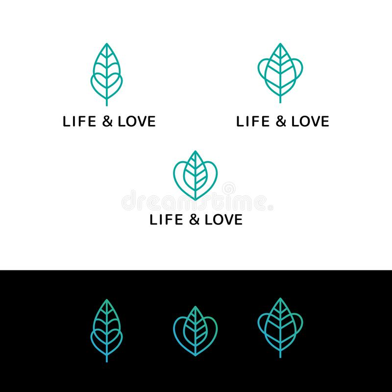 Flat line heart and leaf monochrome blue icons logos web online concept.Brand illustration life love logo Icon in royalty free illustration