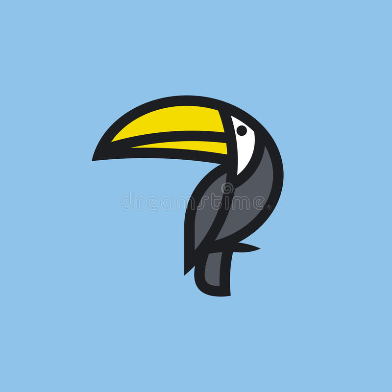 Flat line icon or logo template of toucan royalty free illustration