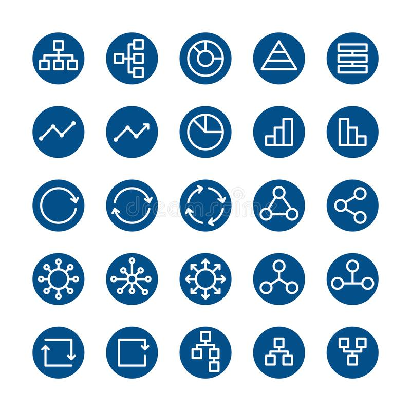 Flat line icon set, business network contact, graph application connect symbol stock illustration