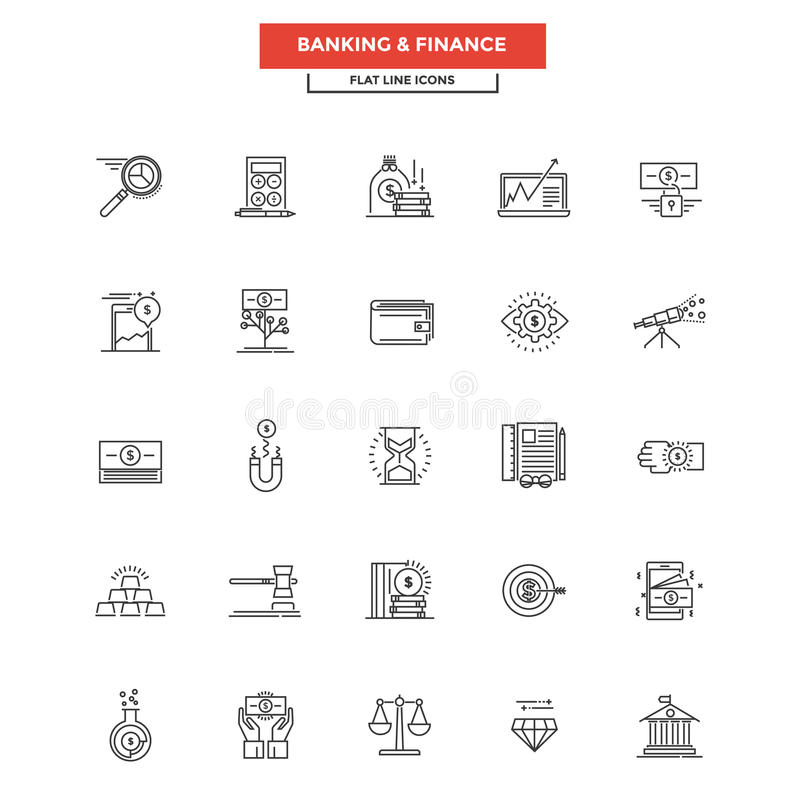 Flat Line Icons- Banking and finance. Set of Modern Flat Line icon Concept of Banking and Finance use in Web Project and Applications. Simple mono linear stock illustration