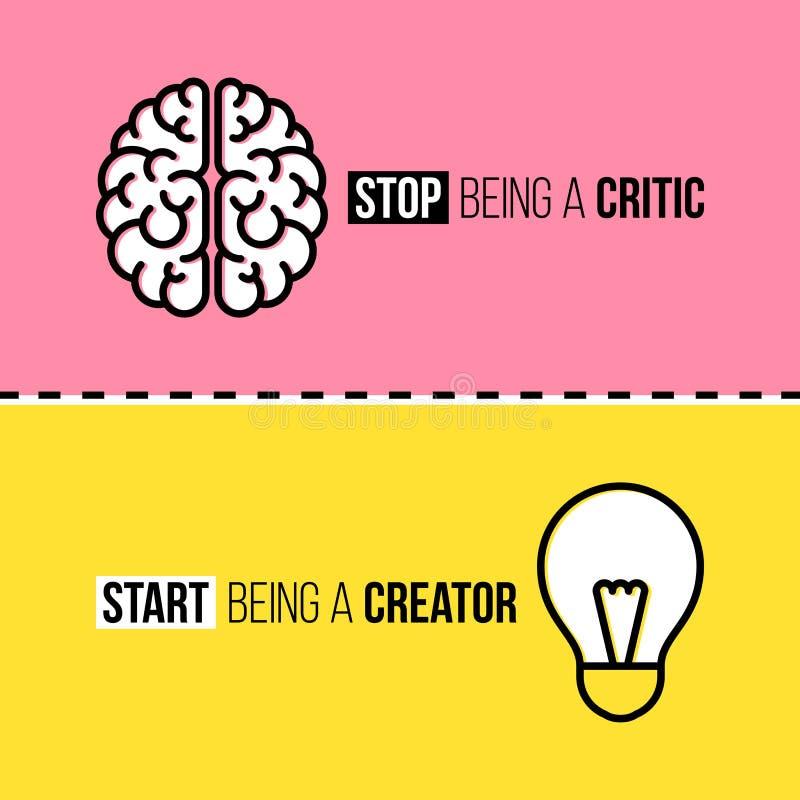 Flat line icons of brain and light bulb. Critic vs stock illustration
