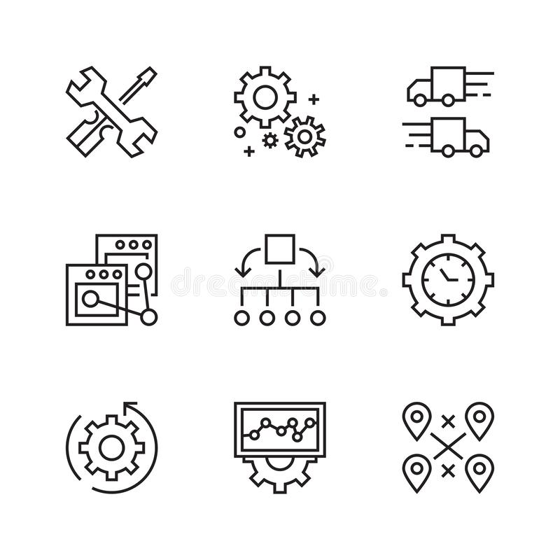 Operational Icons. Flat Line Icons with Doodle Style. Trendy and Youthful stock illustration