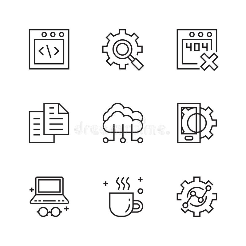 Programming Icons. Flat Line Icons with Doodle Style. Trendy and Youthful vector illustration