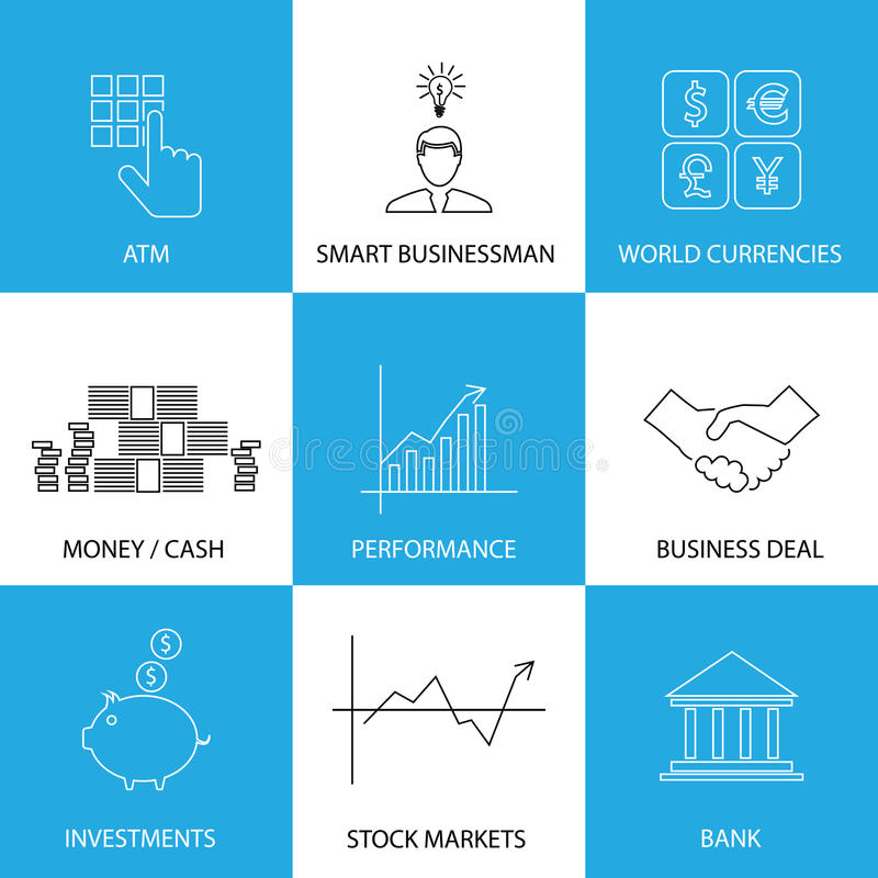 Flat line icons on finance, money, currencies - concept vector. This graphic also represents financial performance with graphs, banking money and atm royalty free illustration