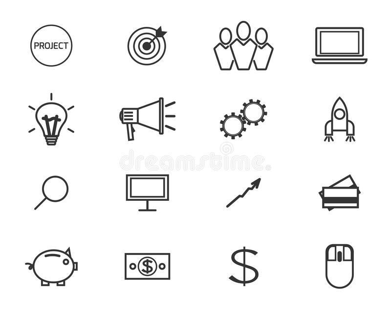 Flat line icons and logo set of crowdfunding. Service, investing platform for creative project, development of small business, startup model and community ideas royalty free illustration