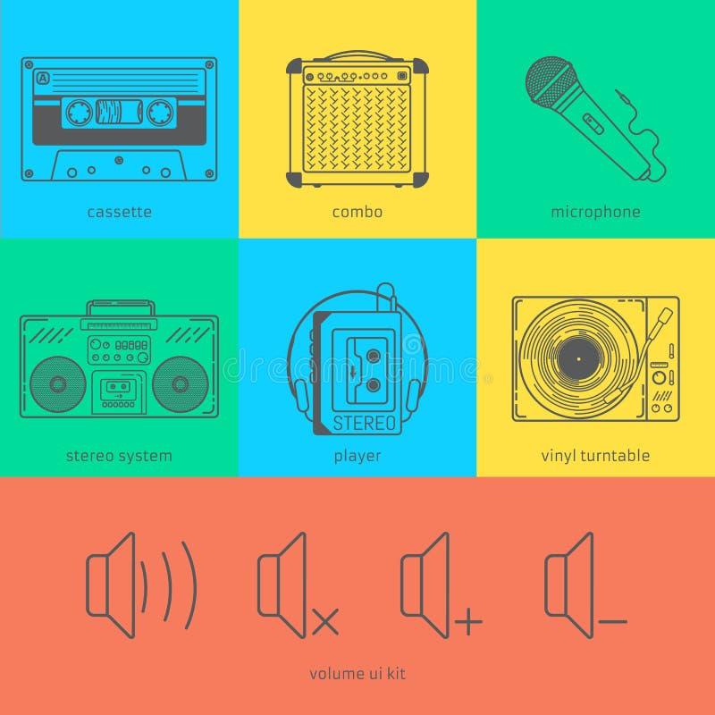 Flat line icons set of audio technic 90's like vector illustration