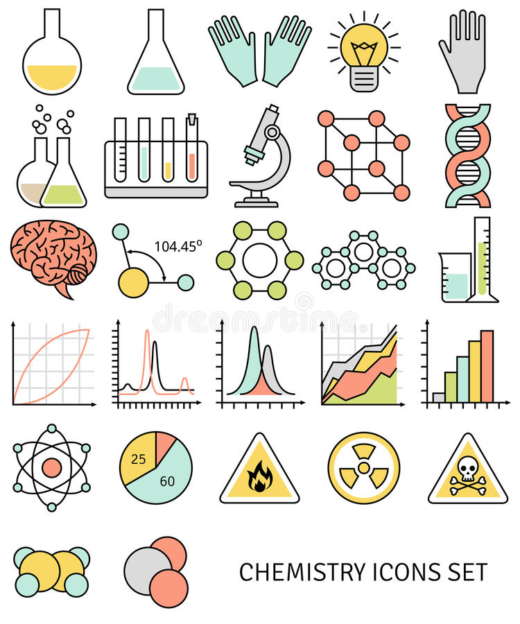Line Drawing Rules Chemistry : Flat line icons set of chemistry symbols and stock vector