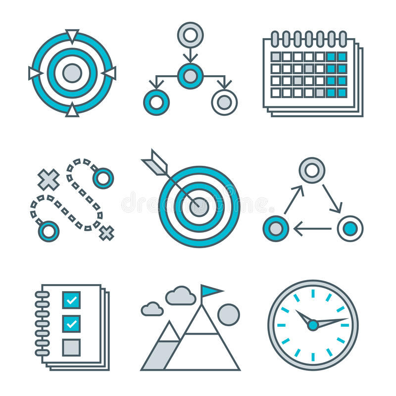 Flat line icons set of competitive advantage. Solution, business gamification elements, winning strategy ideas, motivation, achievement. Modern trend design stock illustration