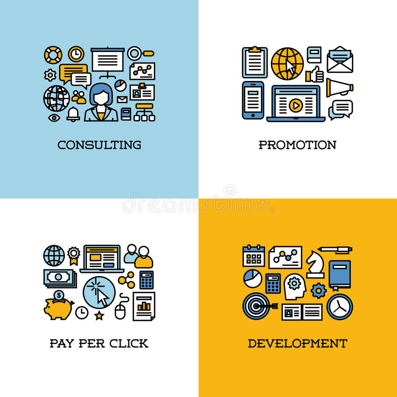 Flat line icons set of consulting, promotion, pay per click. Development. Creative design elements for websites, mobile apps and printed materials vector illustration